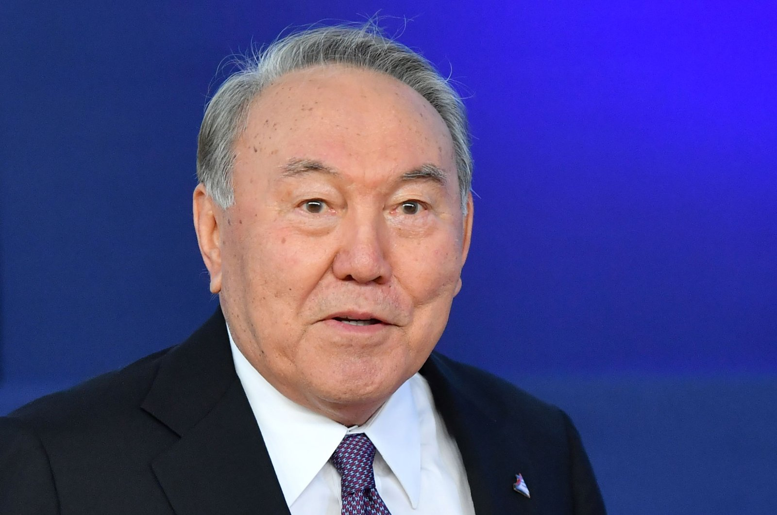 Kazakhstan's President Nursultan Nazarbayev looks on as he arrives for an Asia Europe Meeting (ASEM) at the European Council in Brussels, Oct. 18, 2018. (AFP Photo)