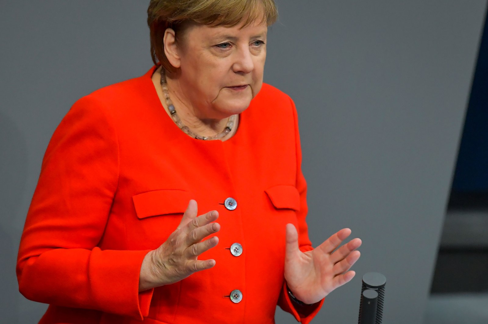 German Chancellor Angela Merkel speaks during a sitting of the Bundestag, Germany's lower house of parliament in Berlin, June 18, 2020. (AFP Photo)