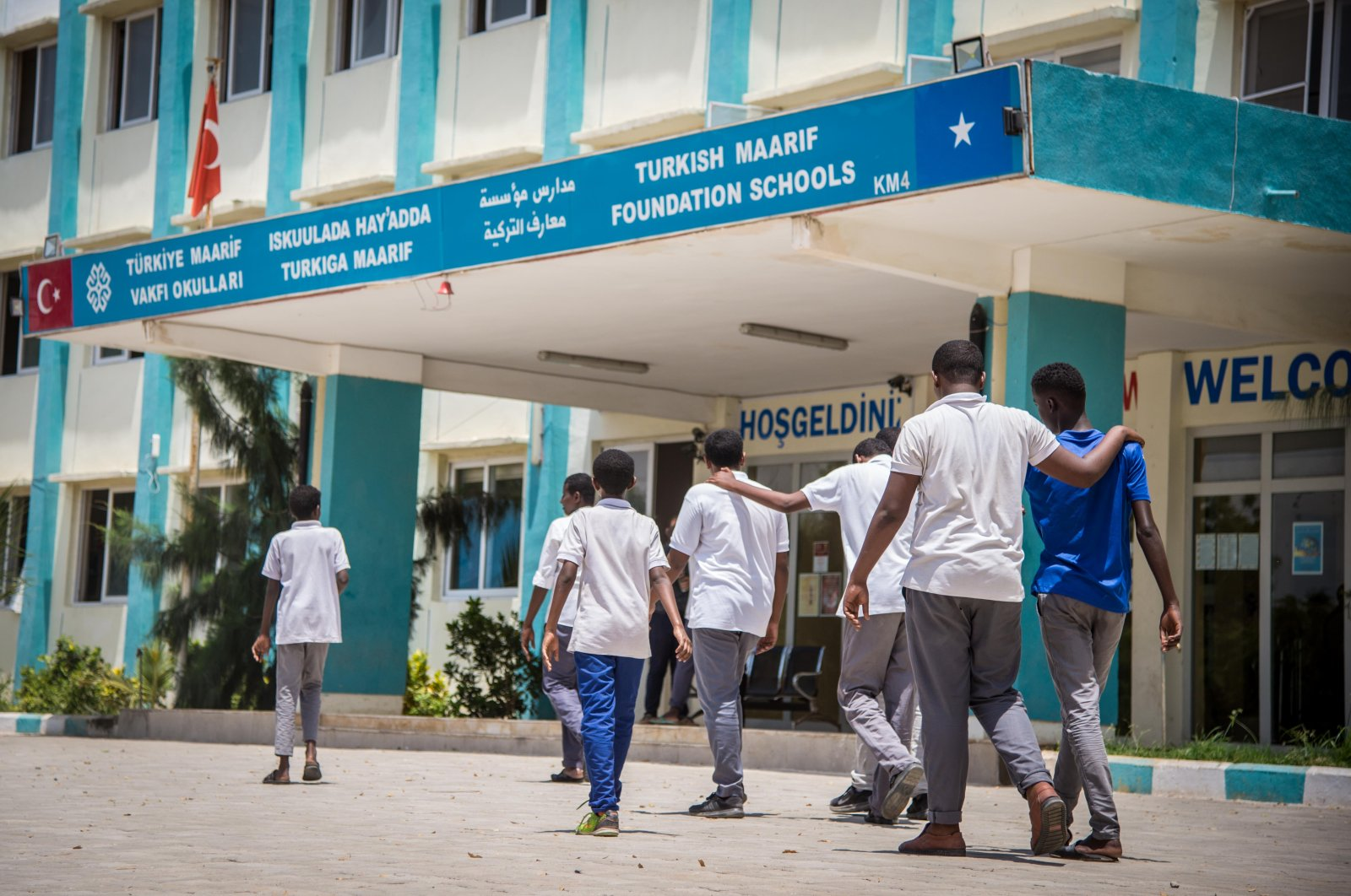 Students take a stroll in front of a school run by Turkey's Maarif Foundation in the Somali capital Mogadishu in this undated file photo. (Sabah File Photo)