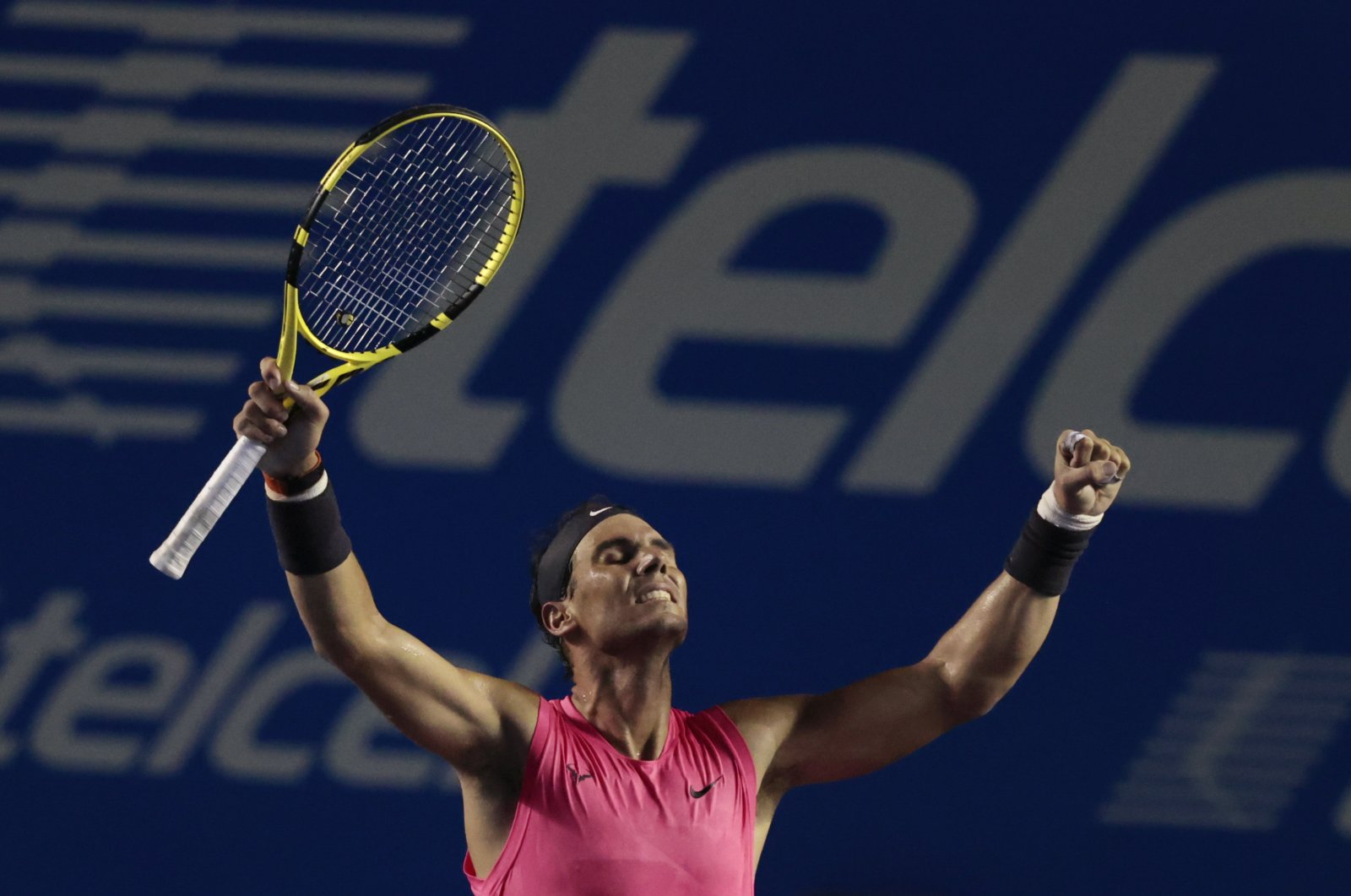 Rafael Nadal celebrates after defeating Grigor Dimitrov in the semifinals of the Mexican Open tennis tournament in Acapulco, Mexico, Feb. 28, 2020. (AP Photo)