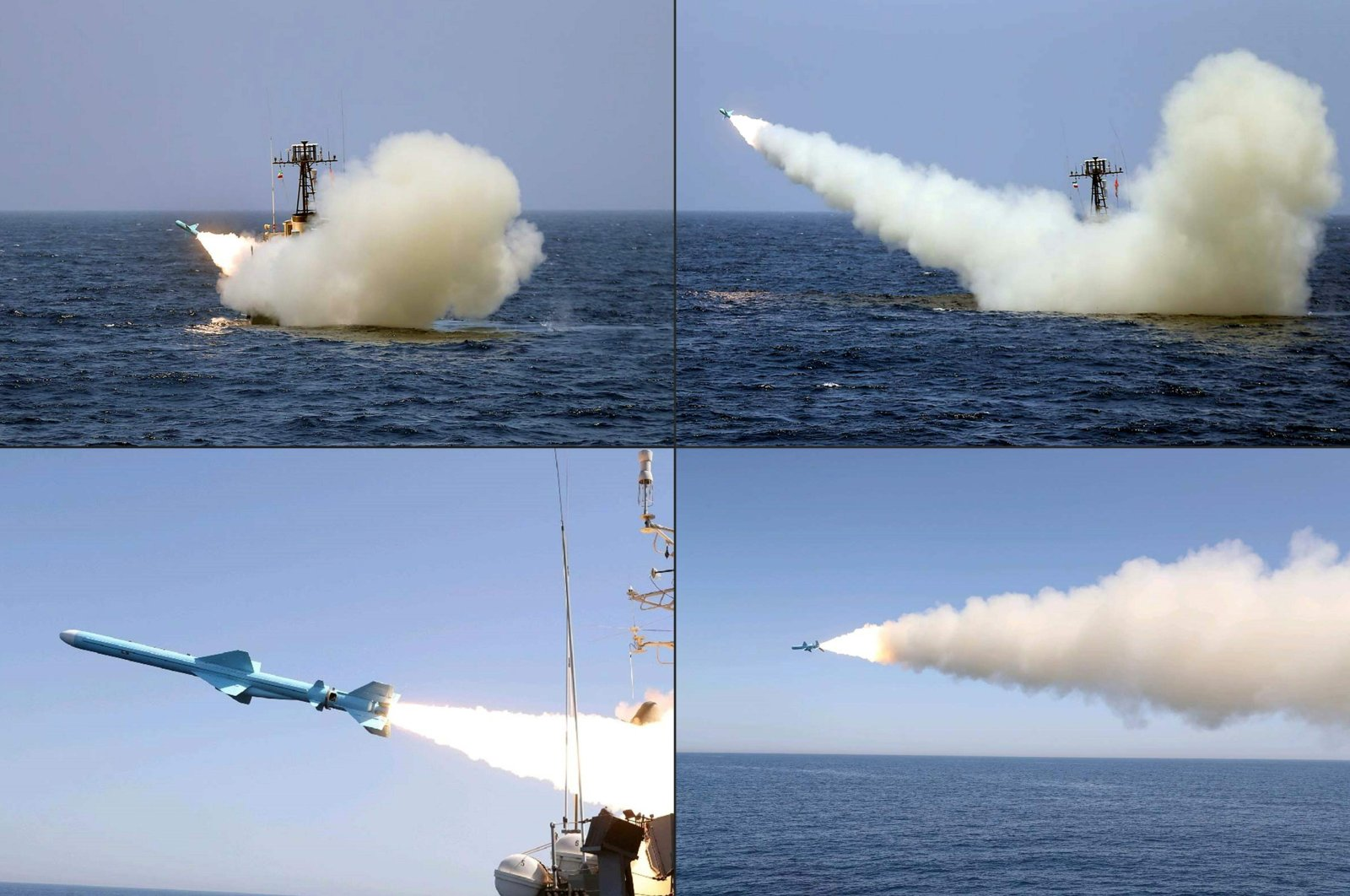 This combination of handout pictures created and made available by the Iranian armed forces office shows a missile being fired from an Iranian warship during a military exercise in the Gulf of Oman. (Iranian Army office/HO/AFP Photo)