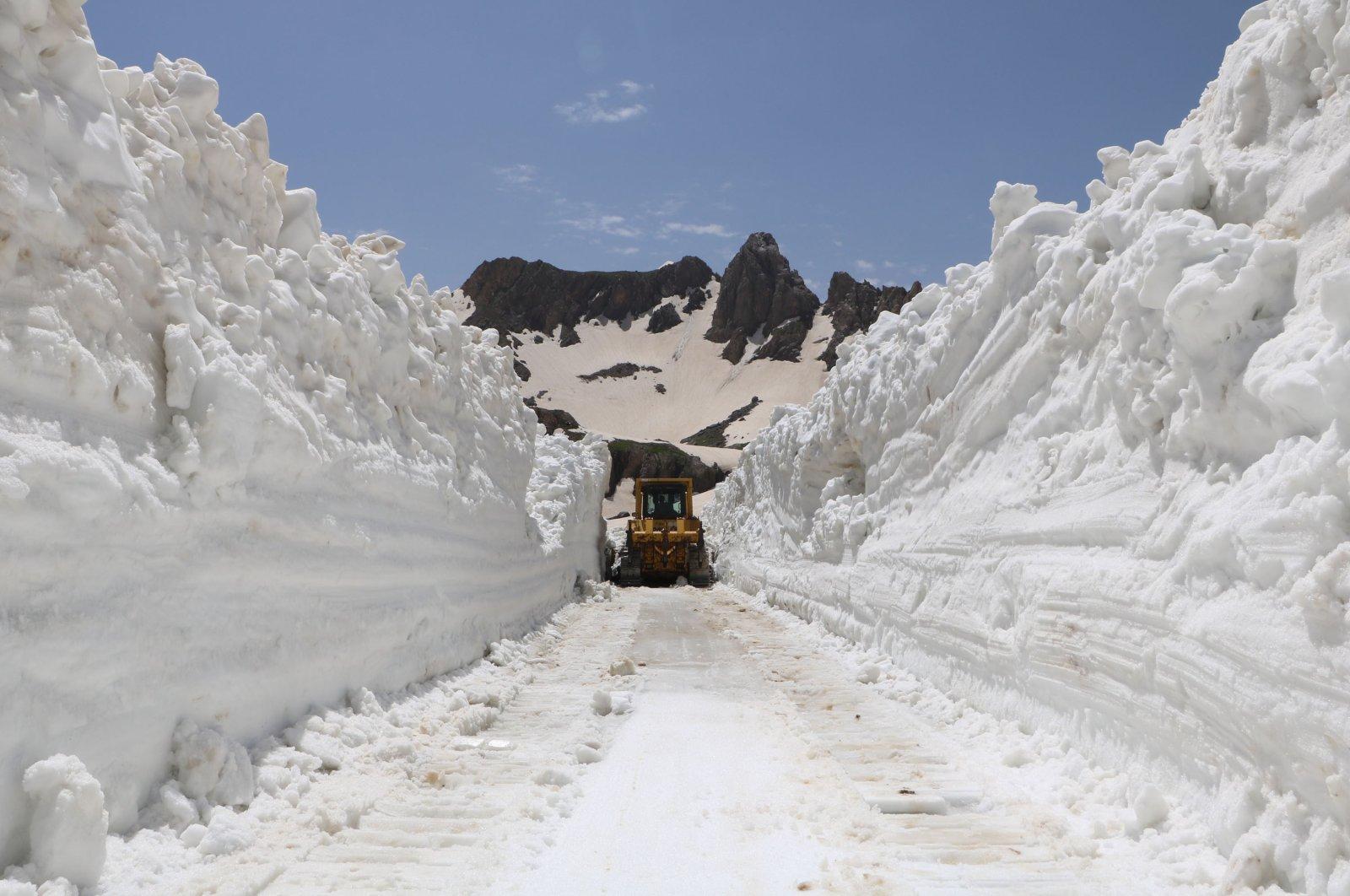 A snowplow rolls through columns of snow in Yüksekova district, in Hakkari, Turkey, June 18, 2020. (DHA Photo)