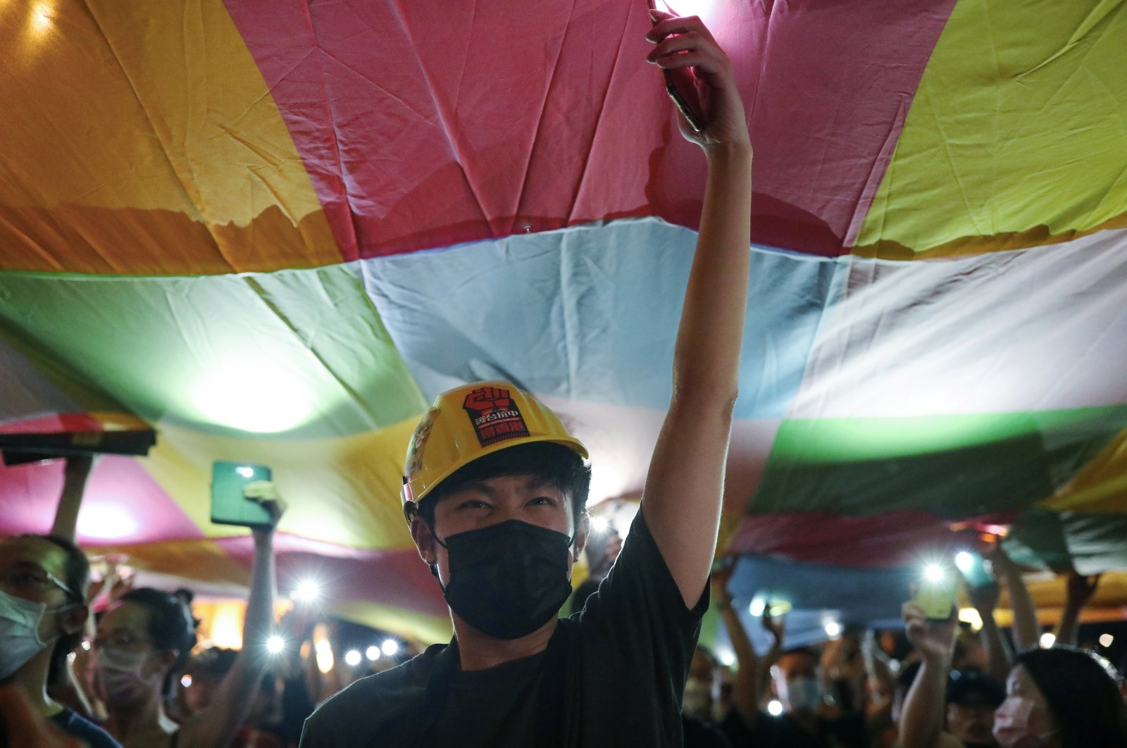 Supporters of the Hong Kong anti-government movement gather at Liberty Square in Taipei, Taiwan, June 13, 2020. (Reuters Photo)