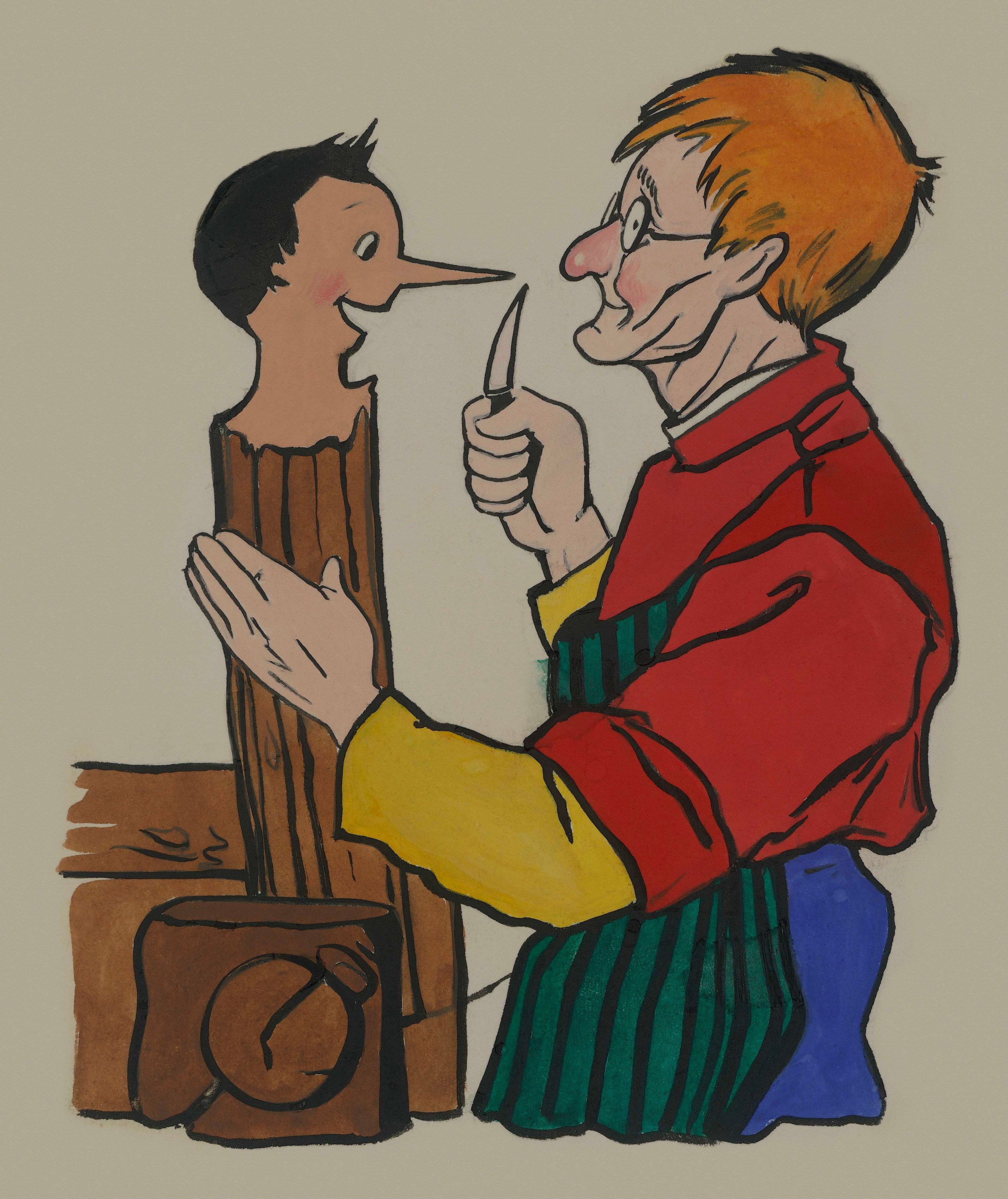 Geppetto carves Pinocchio from a block of wood in an illustration for the children's novel