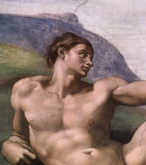 Part of a fresco painting by Italian artist Michelangelo's