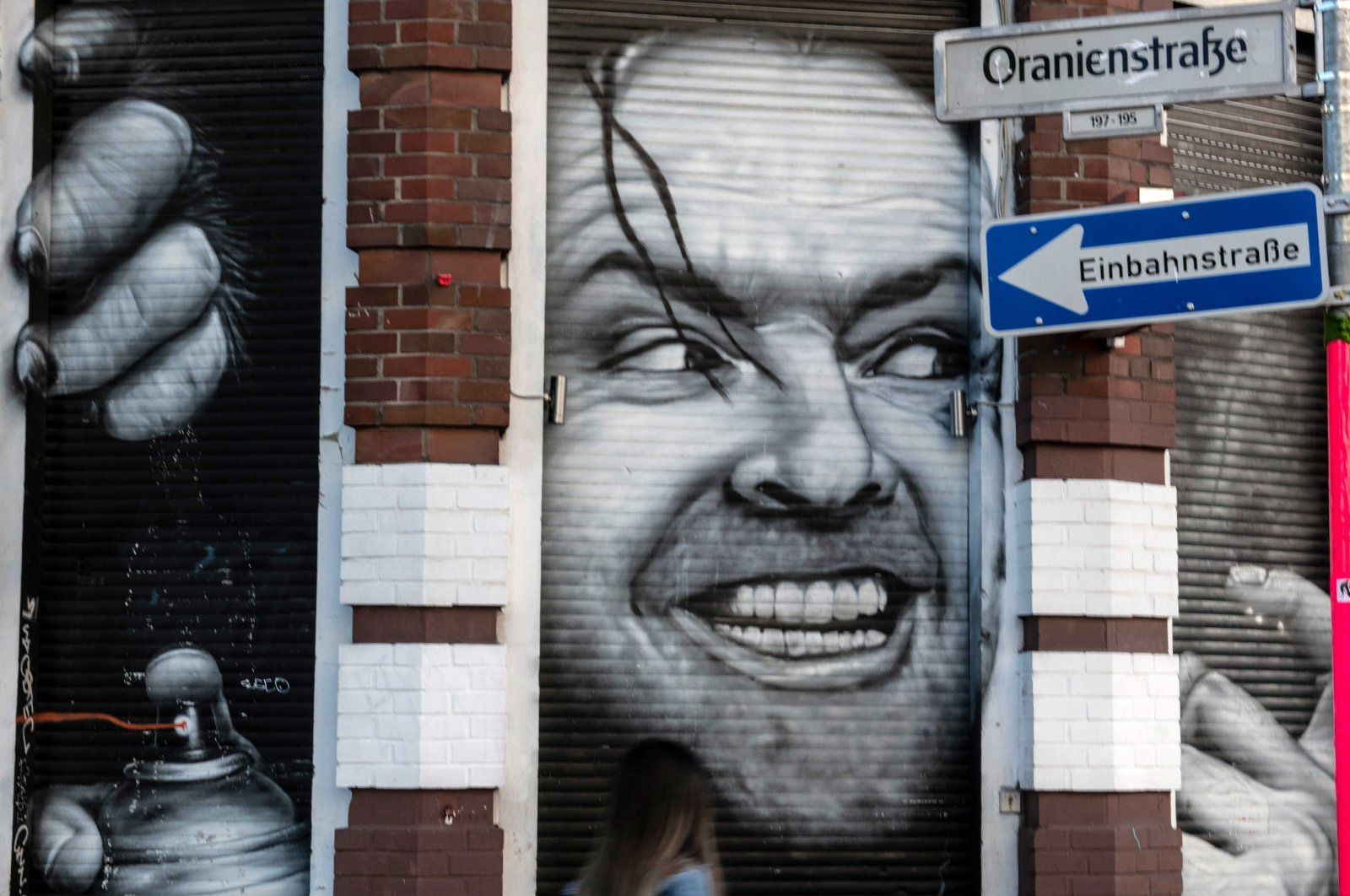 """A mural featuring actor Jack Nicholson from the film """"The Shining"""" can be seen on a Kreuzberg house wall, Berlin, Germany, May 13, 2019. (Getty Images)"""