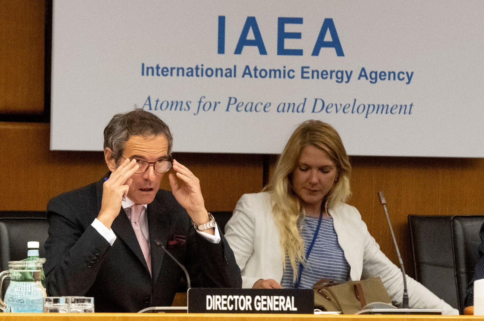 Rafael Grossi (L), the director-general of the International Atomic Energy Agency (IAEA), opens a virtual meeting of the IAEA board of governors, Vienna, June 15, 2020. (AFP Photo)