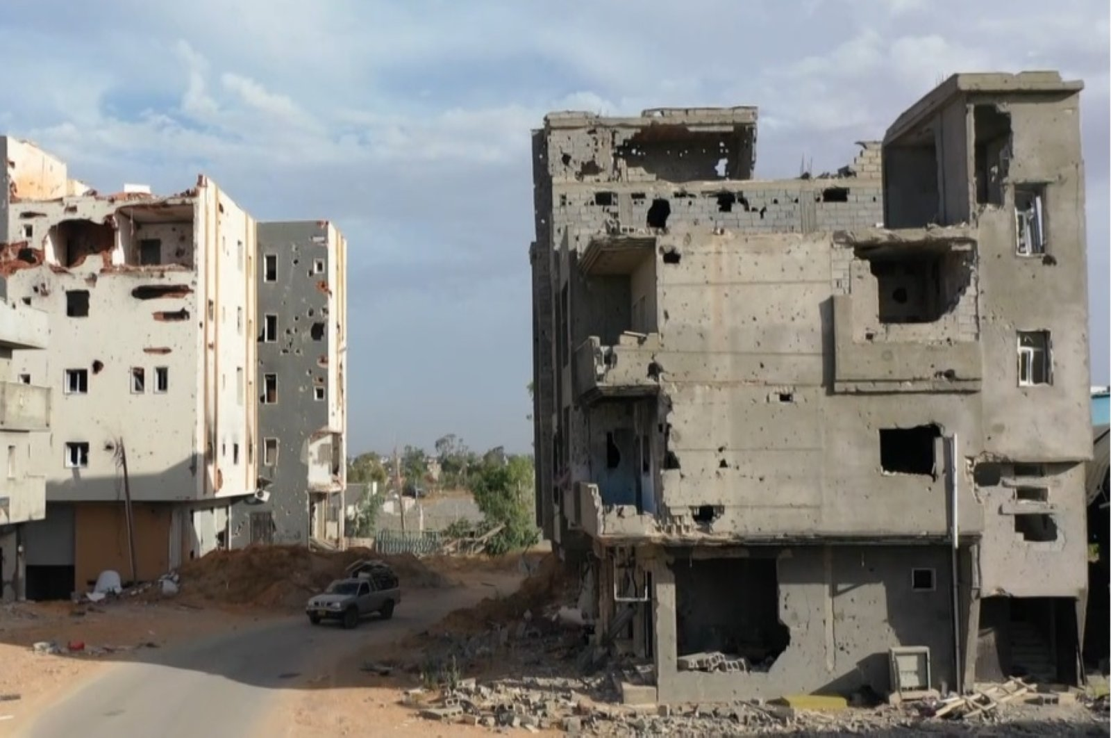 Buildings damaged by attacks perpetrated by forces loyal to putschist Gen. Khalifa Haftar in Libyan capital Tripoli, June 17, 2020. (AA Photo)