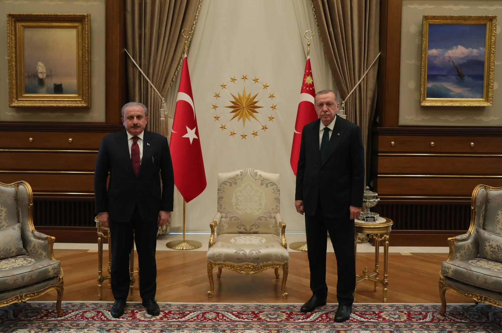 In this picture, Parliament Speaker Mustafa Şentop is hosted by President Recep Tayyip Erdoğan at the presidential complex in capital Ankara, June 17, 2020. (AA Photo)