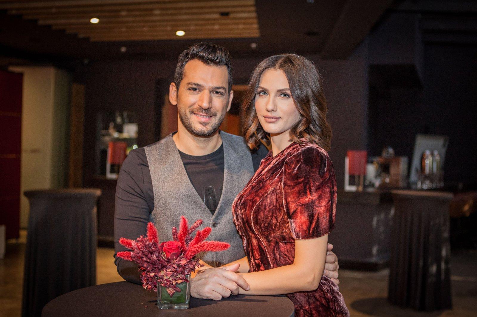 Turkish actor Murat Yıldırım and his wife Iman Elbani pose for a photo, 2018. (Photo by Hatice Çınar)