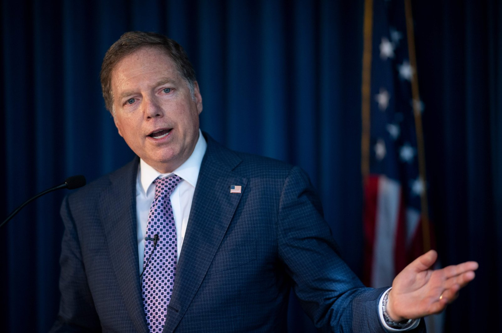 In this file photo taken on October 10, 2019 US Attorney for the Southern District of New York Geoffrey Berman speaks during a press conference in New York City. (AFP Photo)