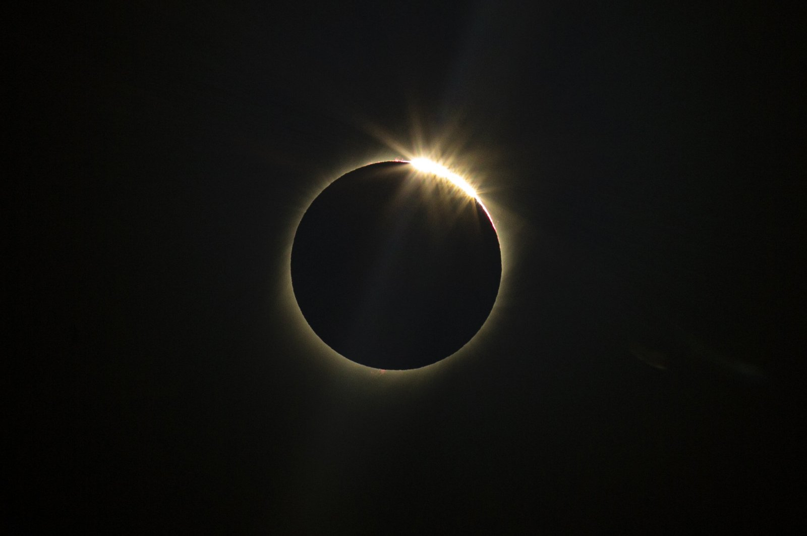The moon blocks the sun during a total solar eclipse in La Higuera, Chile, Tuesday, July 2, 2019.  (AP Photo)