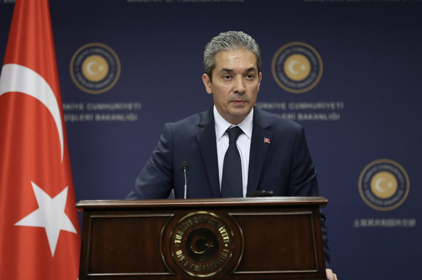 Foreign Ministry Spokesman Hami Aksoy speaks to reporters at a news conference in Ankara on May 28, 2020 (AA File Photo)