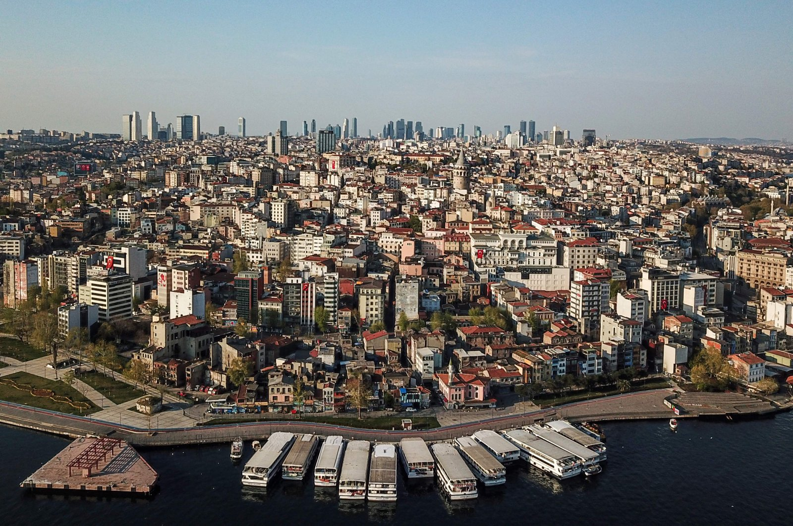 An aerial view of Galata tower (C) and the Beyoğlu district in Istanbul, April 26, 2020. (AFP Photo)