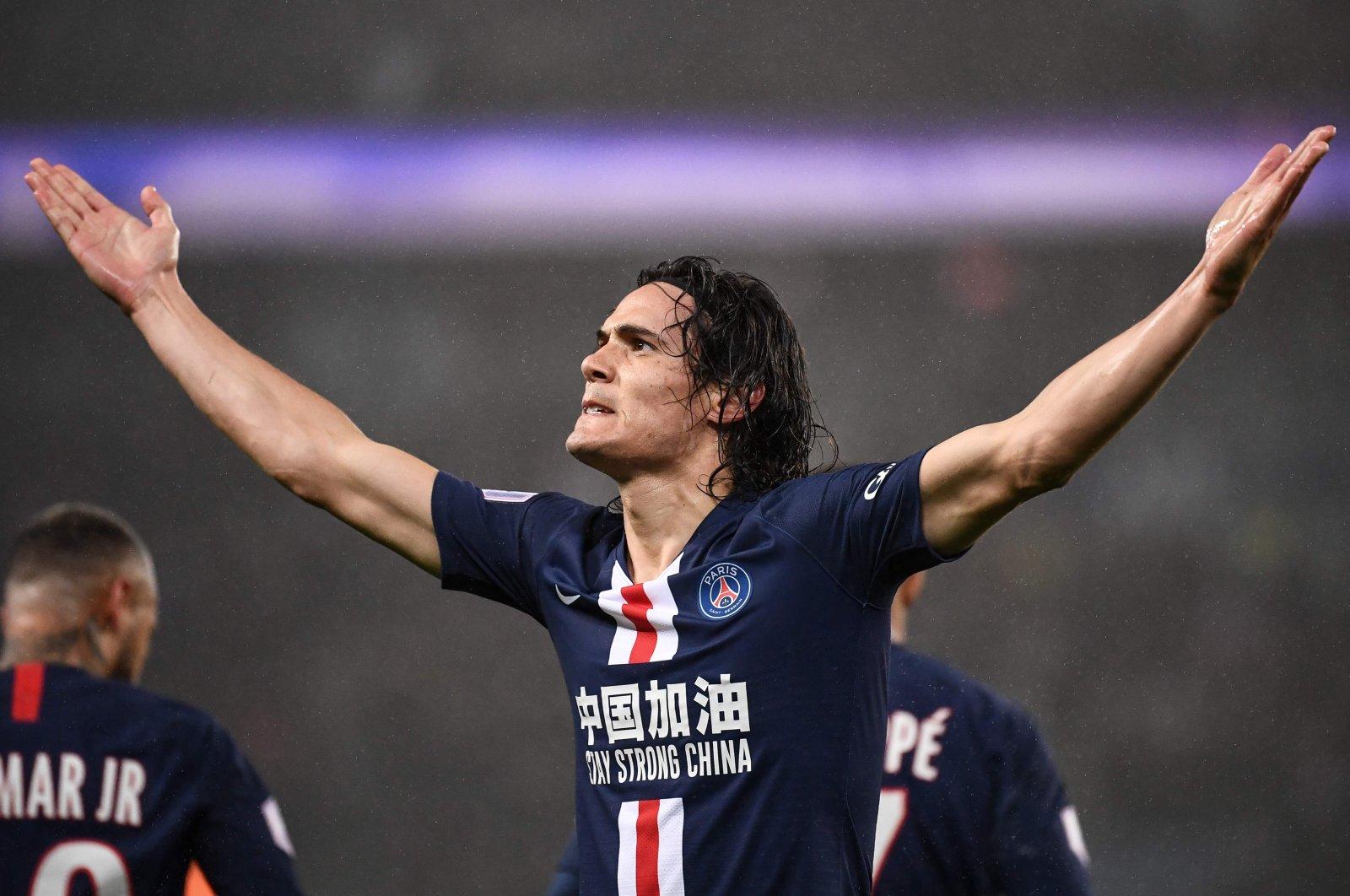 Edinson Cavani reacts after scoring a goal against Girondins de Bordeaux, in Paris, France, Feb. 23, 2020. (AFP Photo)