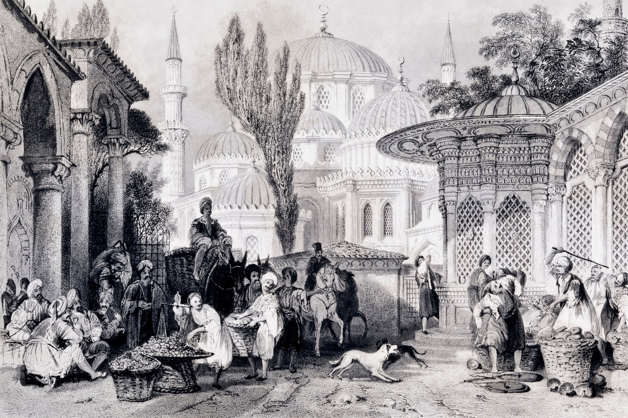 Vintage engraving depicts the Şehzade Mosque and a street market in Istanbul. (iStock Photo)