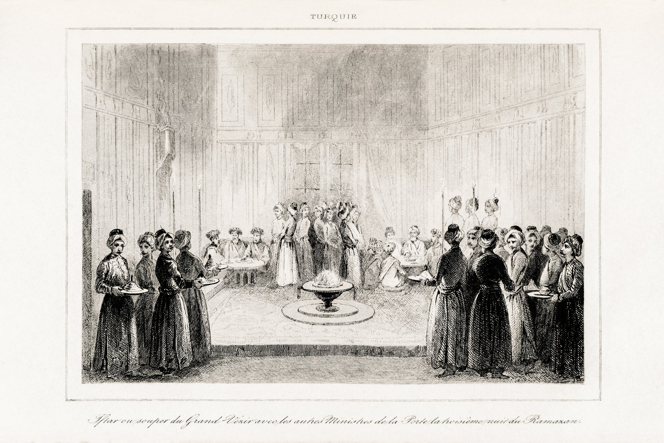 Steel-engraved antique print from the Turkey volume of L'Univers (Universe/Turkey), dated 1840, shows the Grand Vizier and guests at a Ramadan dinner. (iStock Photo)