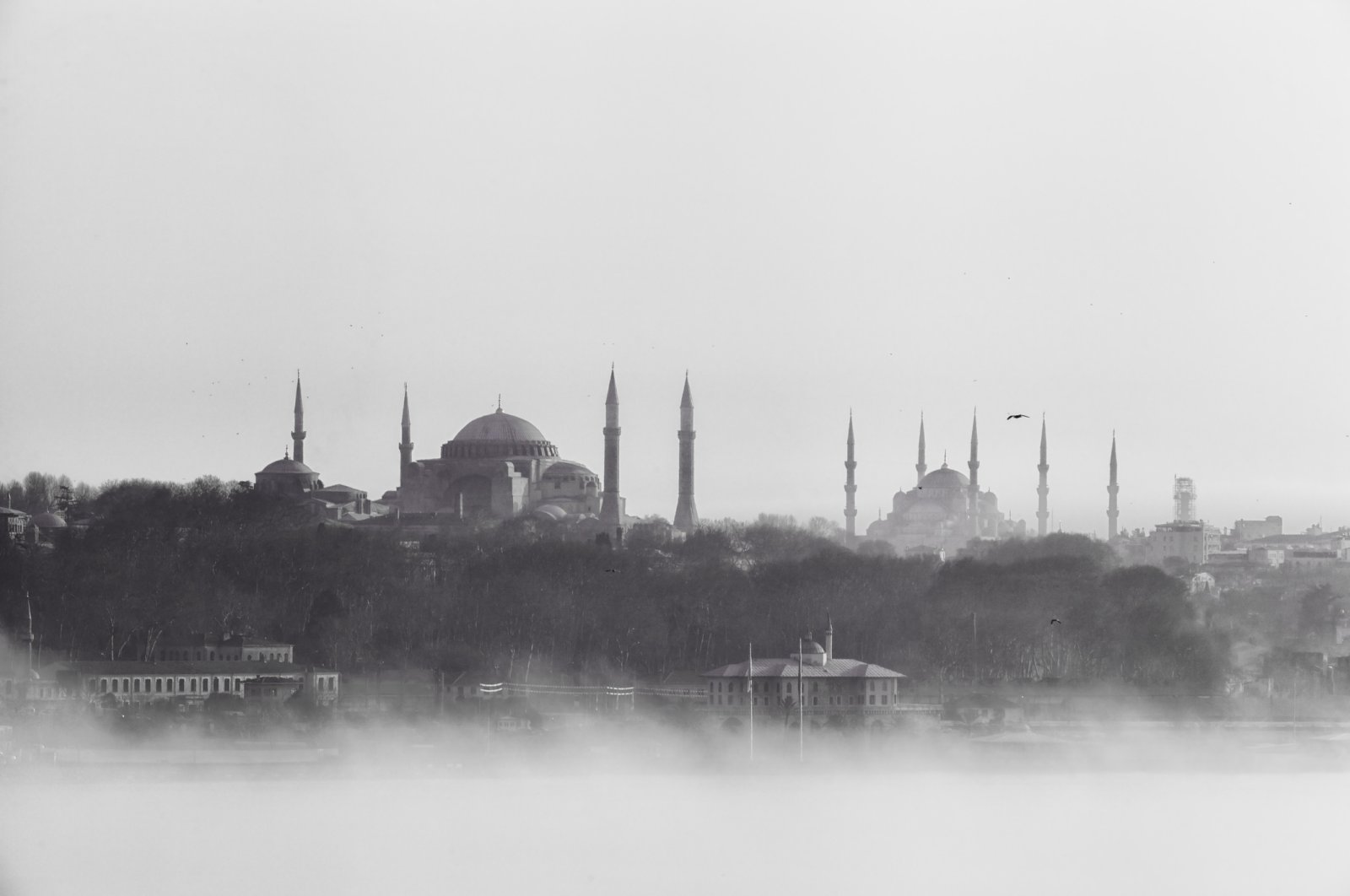 Vintage photograph shows the Hagia Sophia and Blue Mosque in Istanbul on a foggy day. (iStock Photo)