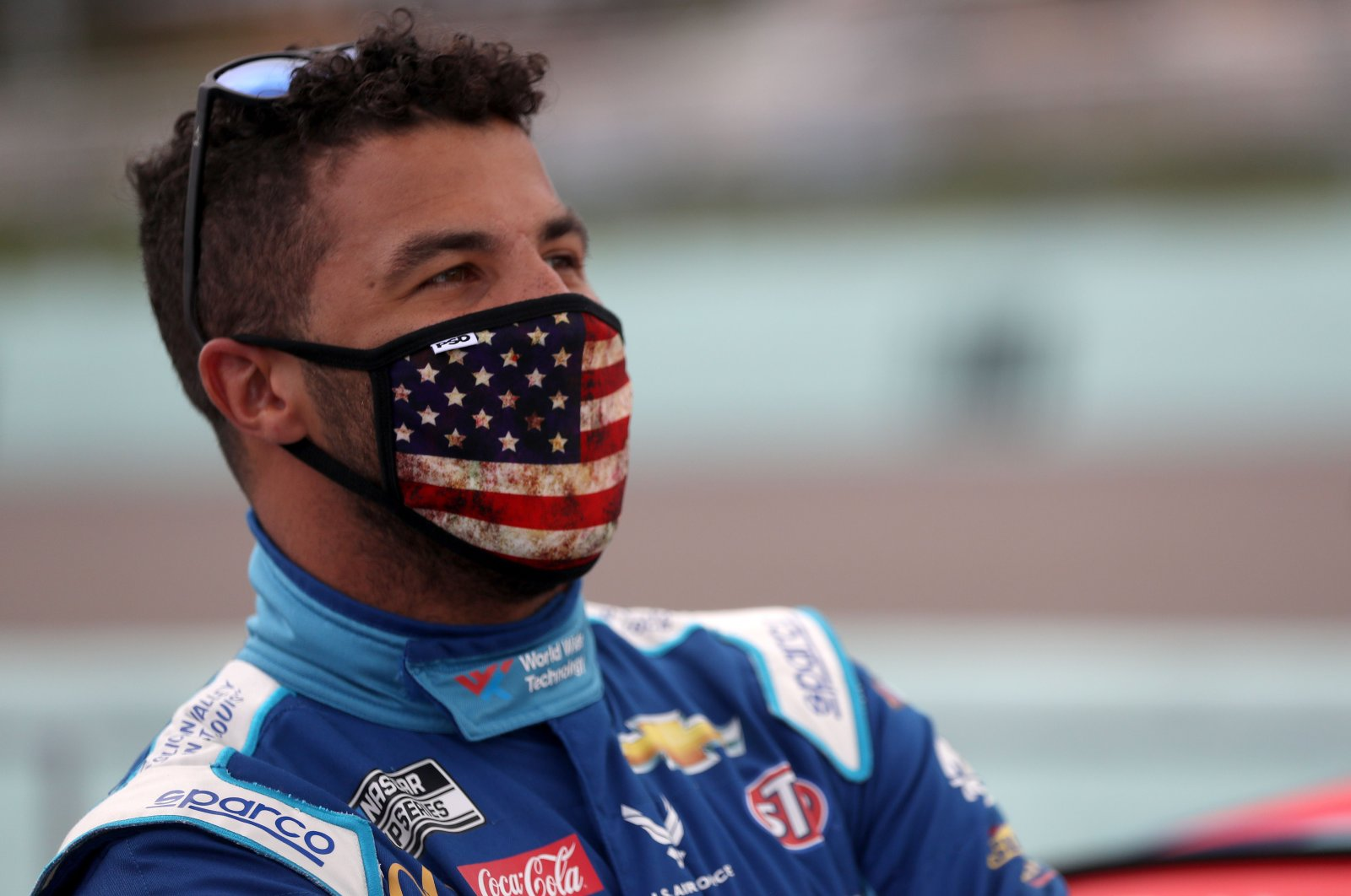 Bubba Wallace stands on the grid prior to a race in Homestead, Florida, June 14, 2020. (AFP Photo)
