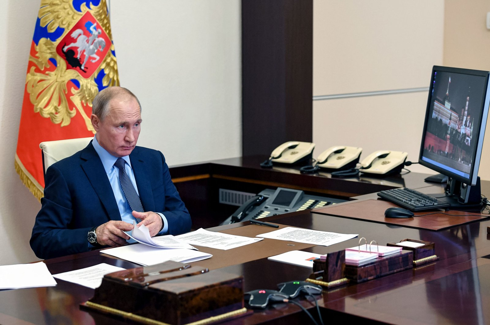 Russian President Vladimir Putin attends a meeting with health workers via videoconference at the Novo-Ogaryovo state residence outside Moscow, Russia, June 20, 2020. (AFP Photo)