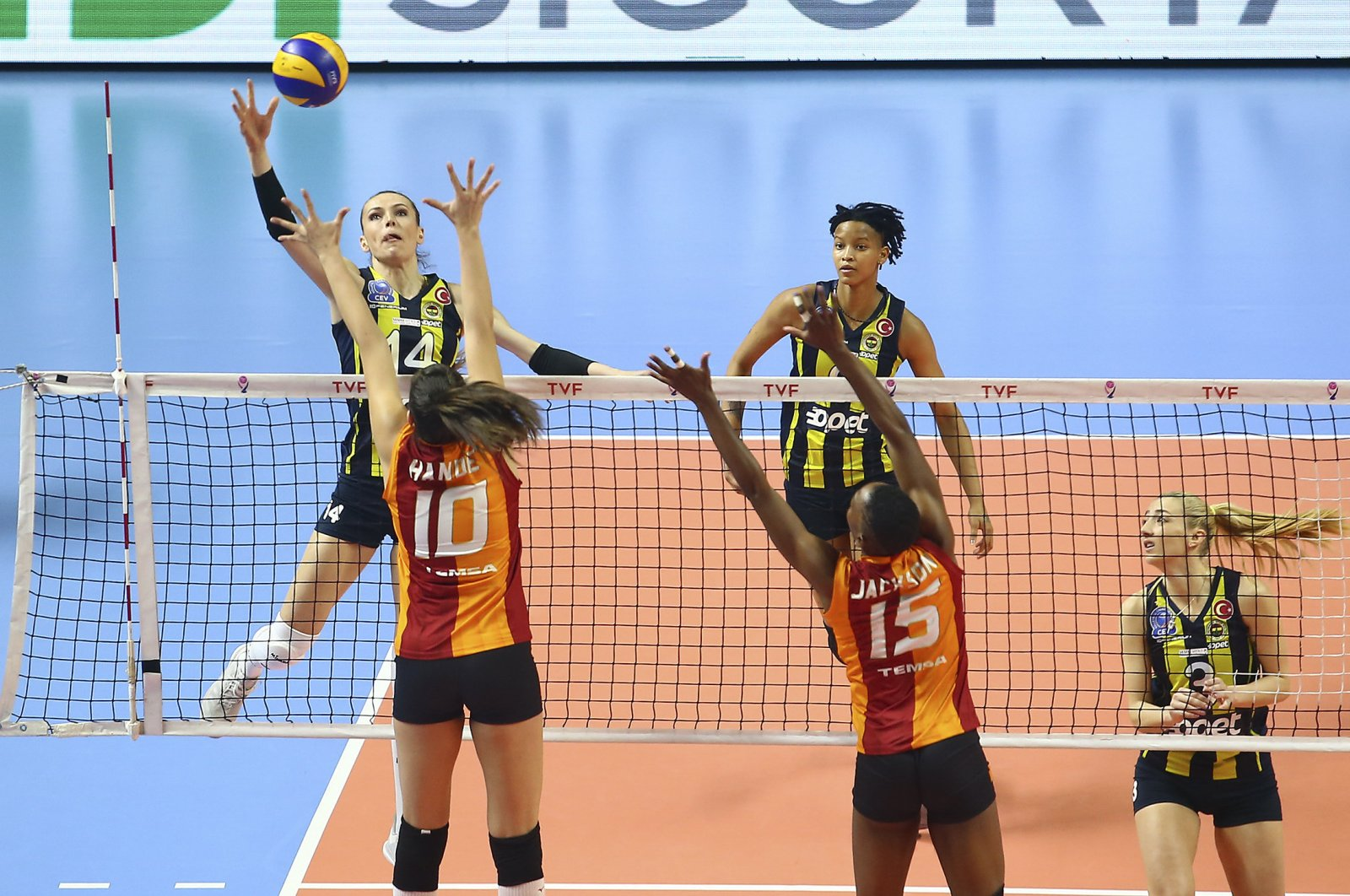 A player from Fenerbahçe Opet jumps to hit the ball in a game against Galatasaray HDI Sigorta, Jan. 31, 2019. (AA Photo)