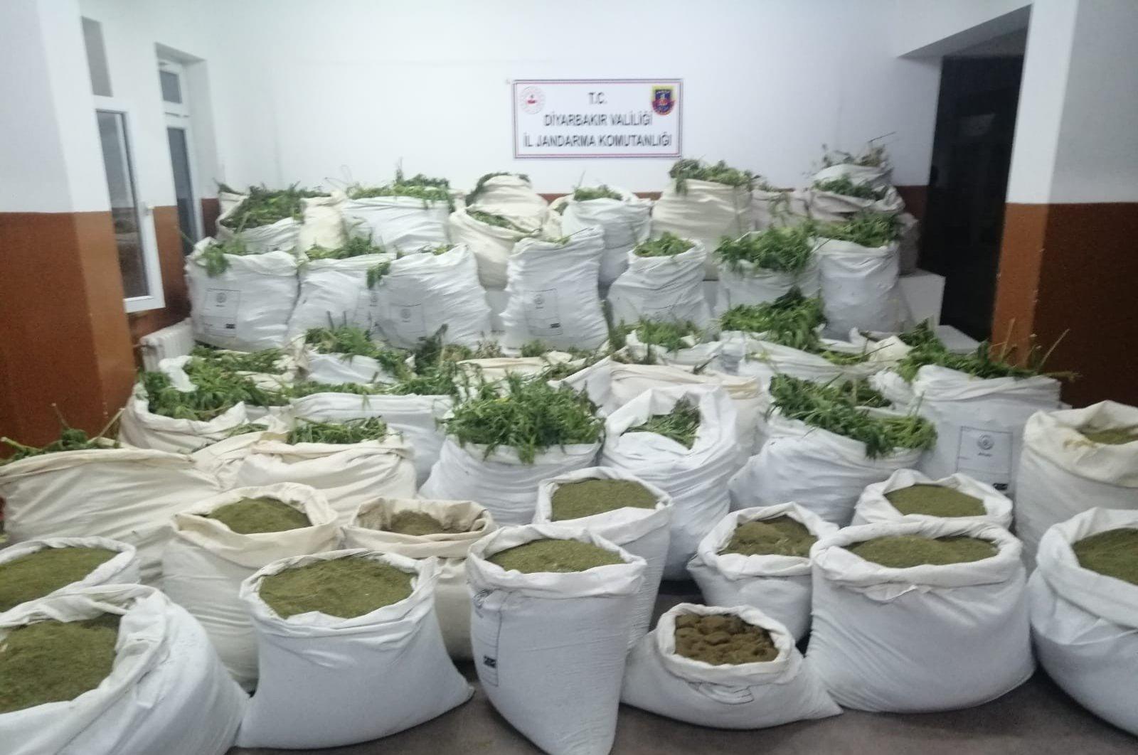 Seized marijuana on display at security forces headquarters in Diyarbakır, Turkey, June 22, 2020. (IHA Photo)