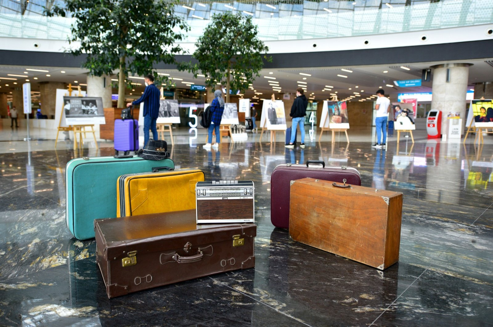 Wooden suitcases on display at the exhibition. (AA PHOTO)