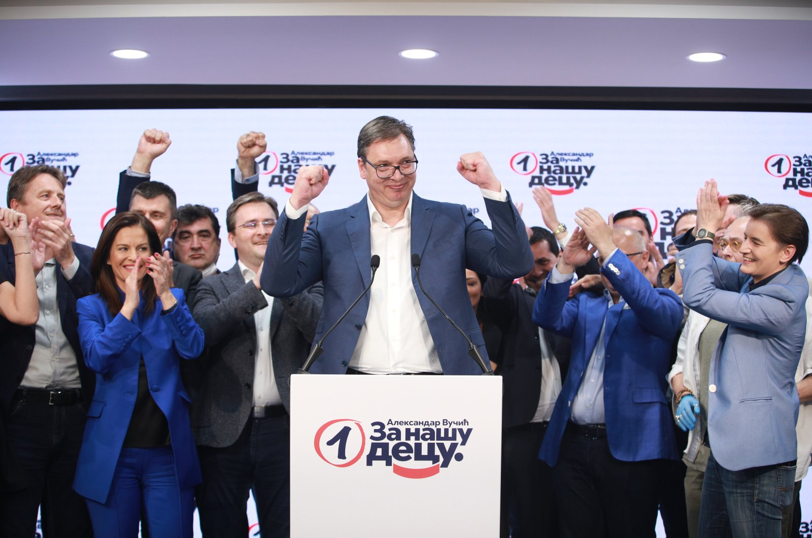 Serbian incumbent President Aleksandar Vucic celebrates the election results in the headquarters of his ruling Serbian Progressive Party in Belgrade, June 22, 2020 (AA Photo)