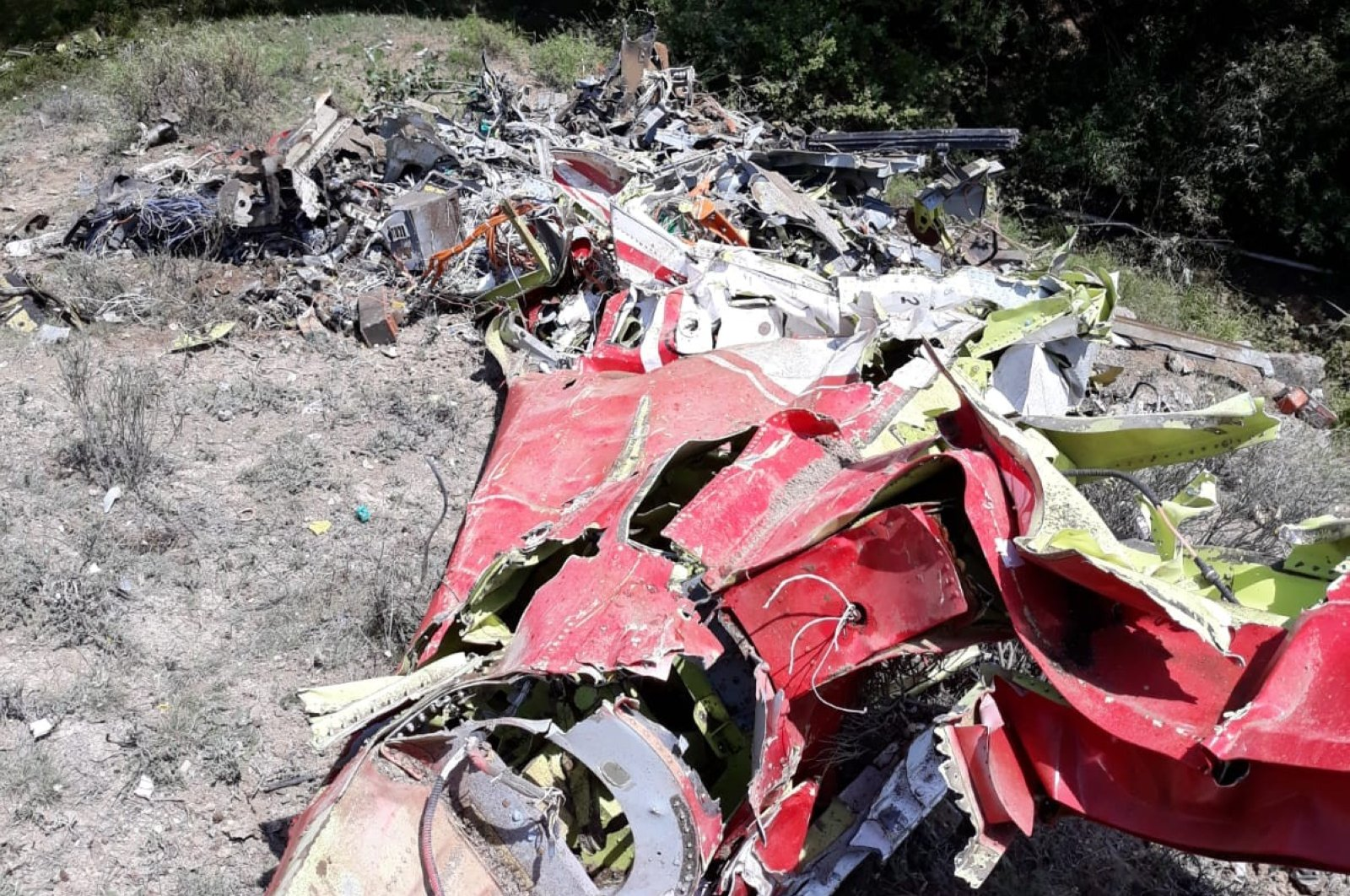 The wreckage of a HÜRKUŞ-B that crashed in Beypazarı, Ankara, June 22, 2020. (İHA Photo)