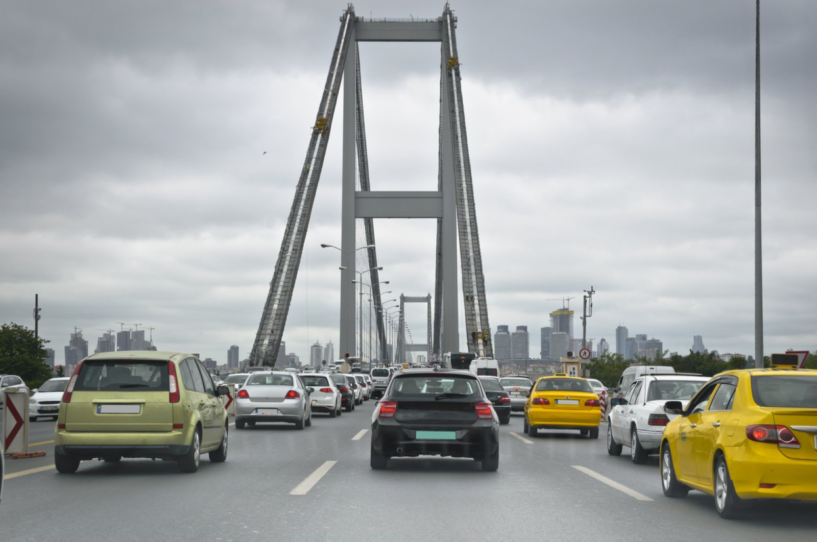 Vehicles are seen at the July 15 Martyrs Bridge, formerly known as the Bosporus Bridge, during rush hours, Istanbul, Turkey. (iStock Photo by Adem Percem)