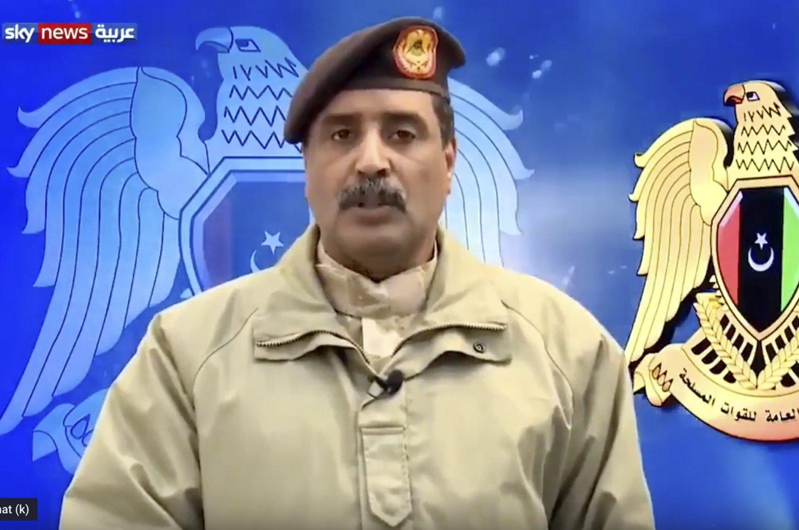 Khalifa Haftar's spokesman Ahmed al-Mismari speaks on Sky News Arabia television, Jan. 15, 2020. (Sabah File Photo)