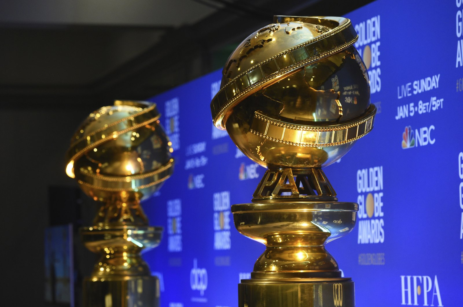 Replicas of Golden Globe statues at the nominations for the 77th annual Golden Globe Awards in Beverly Hills, Calif., U.S. on Dec. 9, 2019. (AP Photo)