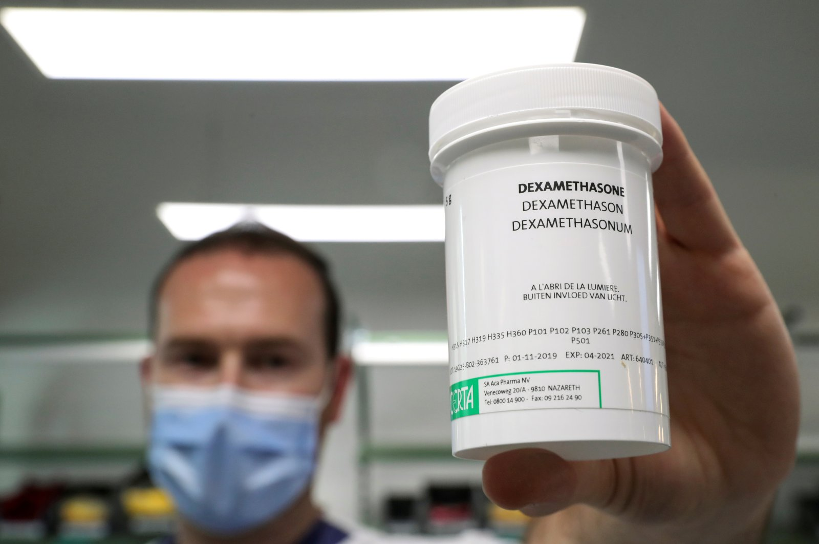 A pharmacist displays a box of Dexamethasone at the Erasme Hospital amid the coronavirus outbreak, in Brussels, Belgium, June 16, 2020. (Reuters Photo)