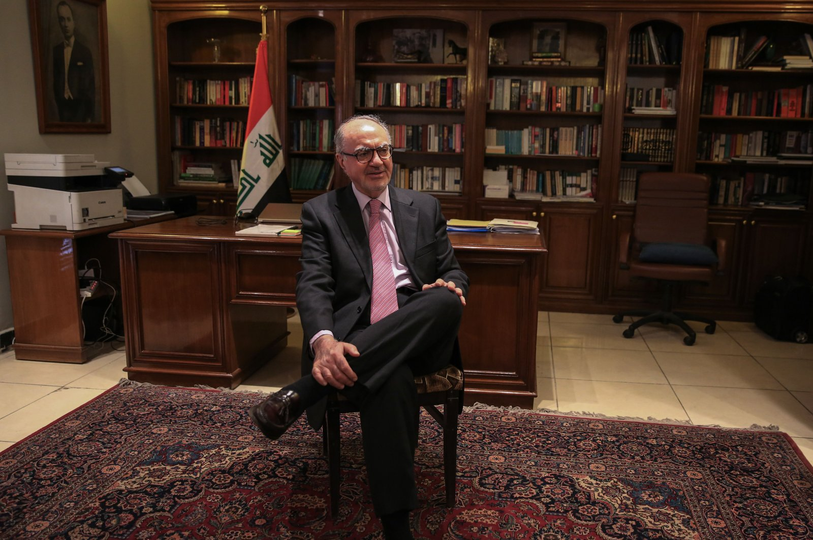 Iraq's Minister of Finance Ali Allawi speaks during an interview at his residence in the capital Baghdad, June 22, 2020. (AFP Photo)