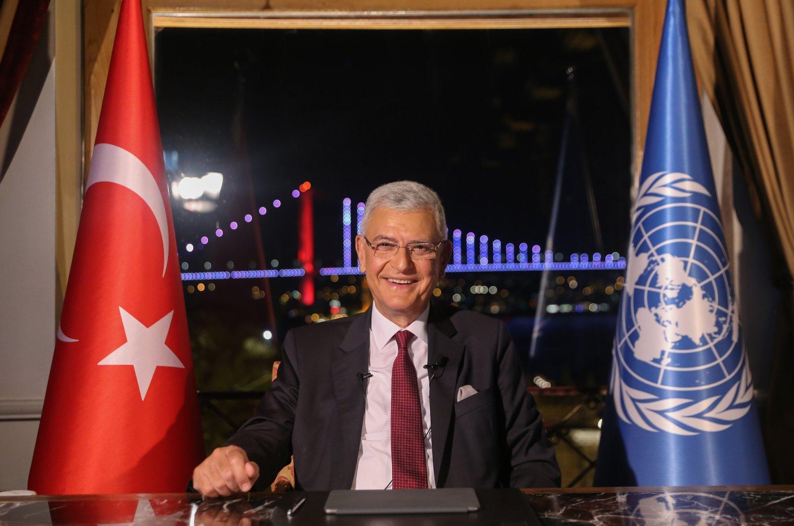 UNGA President Volkan Bozkır speaks at his inauguration ceremony held via videoconference on June 22, 2020 (AA Photo)