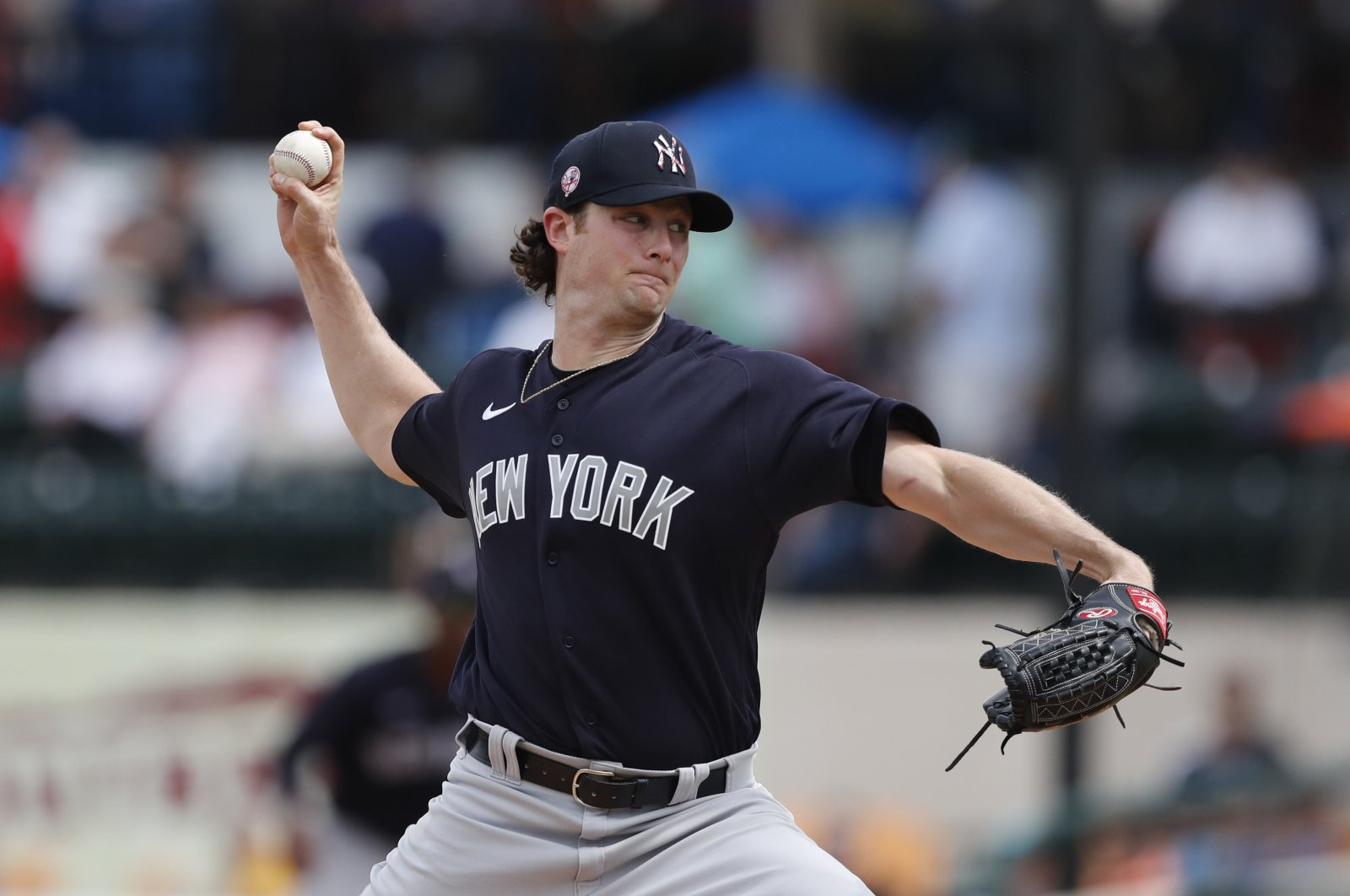 New York Yankees starting pitcher Gerrit Cole throws during a spring training baseball game against the Detroit Tigers in Lakeland, Fla., U.S., March 5, 2020. (AP Photo)