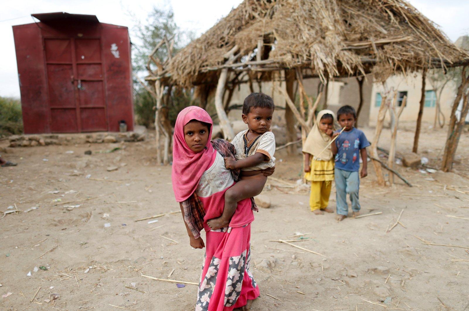 Children are seen in the village in al-Jaraib, Yemen, Feb. 18, 2019. (Reuters Photo)