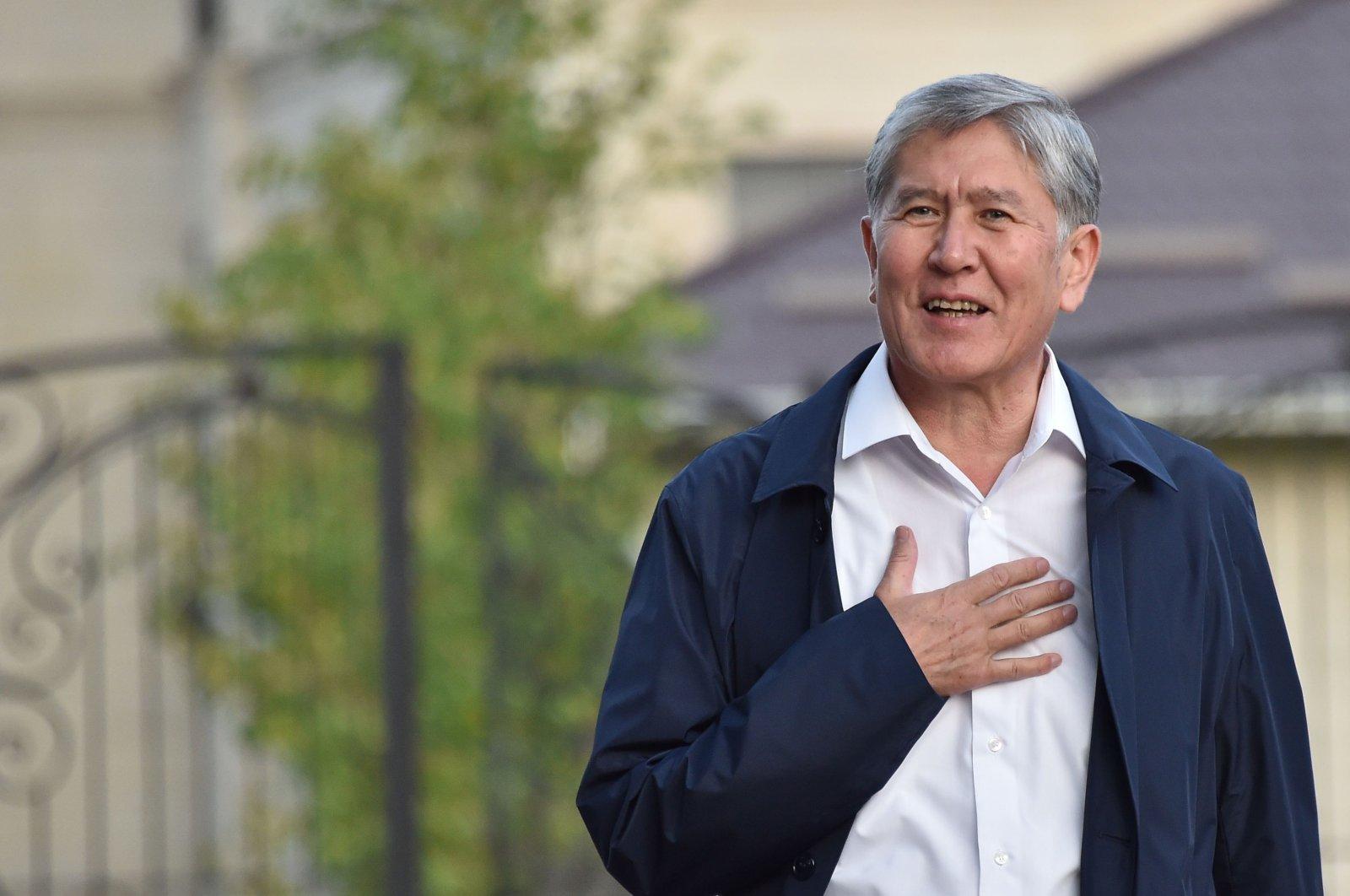In this file photo taken on June 27, 2019 Former Kyrgyz president Almazbek Atambayev stands outside his residence in the village of Koi-Tash near the capital Bishkek. (AFP Photo)