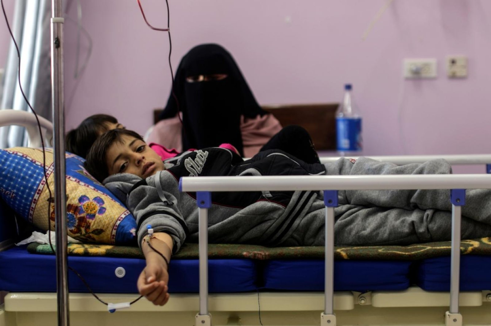 Palestinian children suffering from cancer receive treatment at a hospital, Gaza City, Feb. 13, 2018.