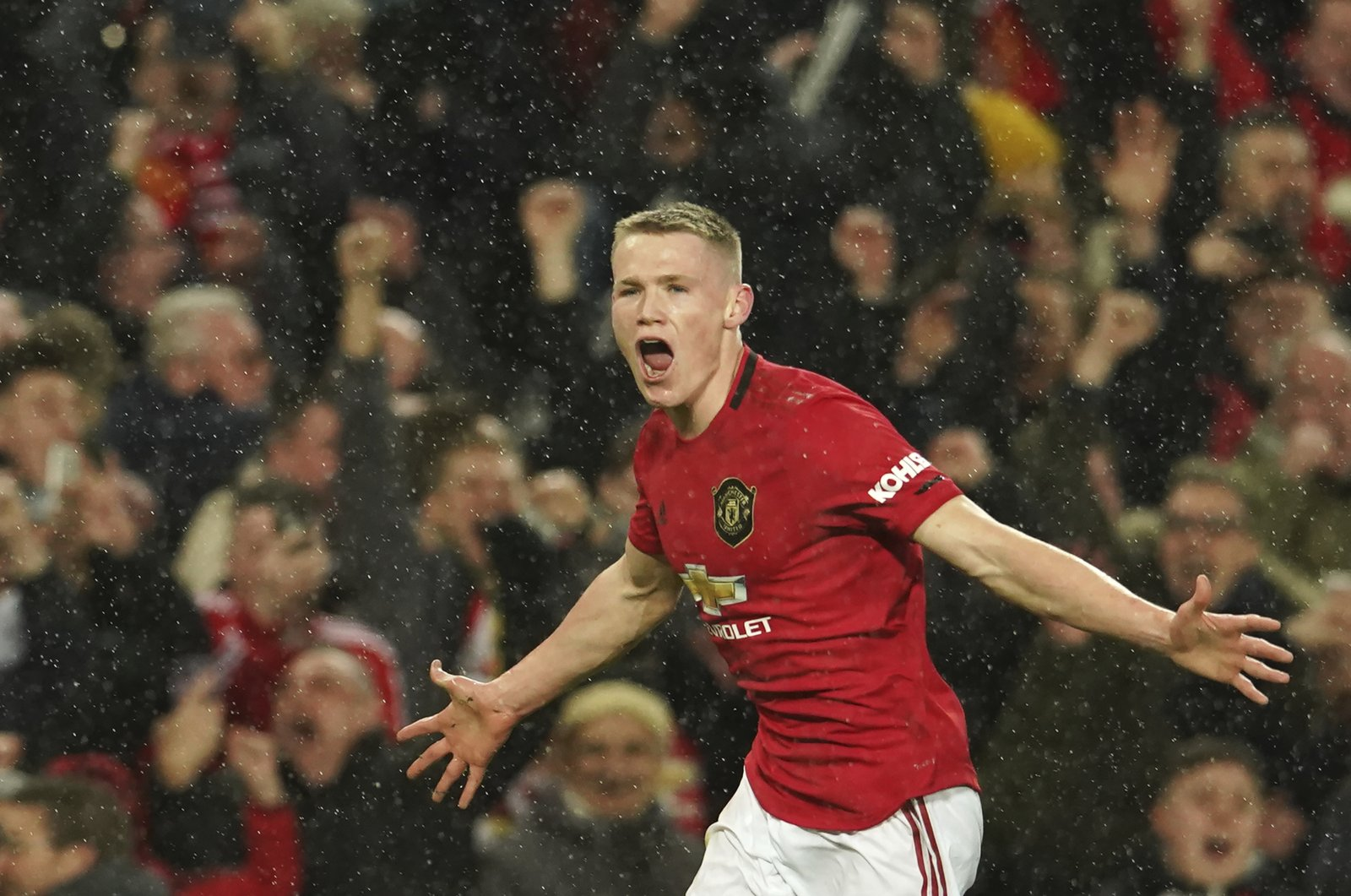 Scott McTominay reacts during a Premier League match in Manchester, England, March 8, 2020. (AP Photo)