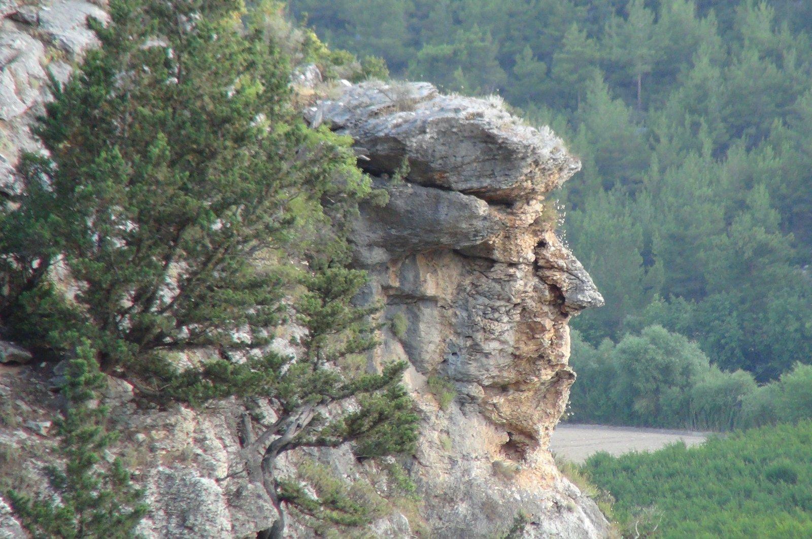 The rock in the Bükdeğirmeni neighborhood of Silifke district, in Mersin, Turkey, June 23, 2020. (IHA Photo)