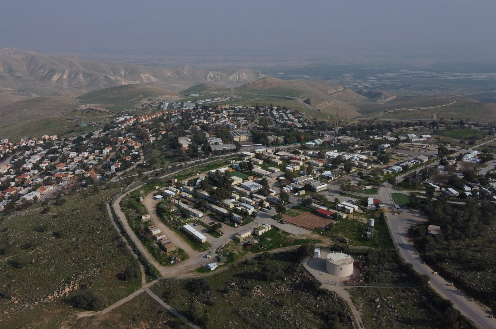 This file photo shows a view of the West Bank settlement of Ma'ale Efraim on the hills of the Jordan Valley, Feb. 18, 2020. (AP Photo)