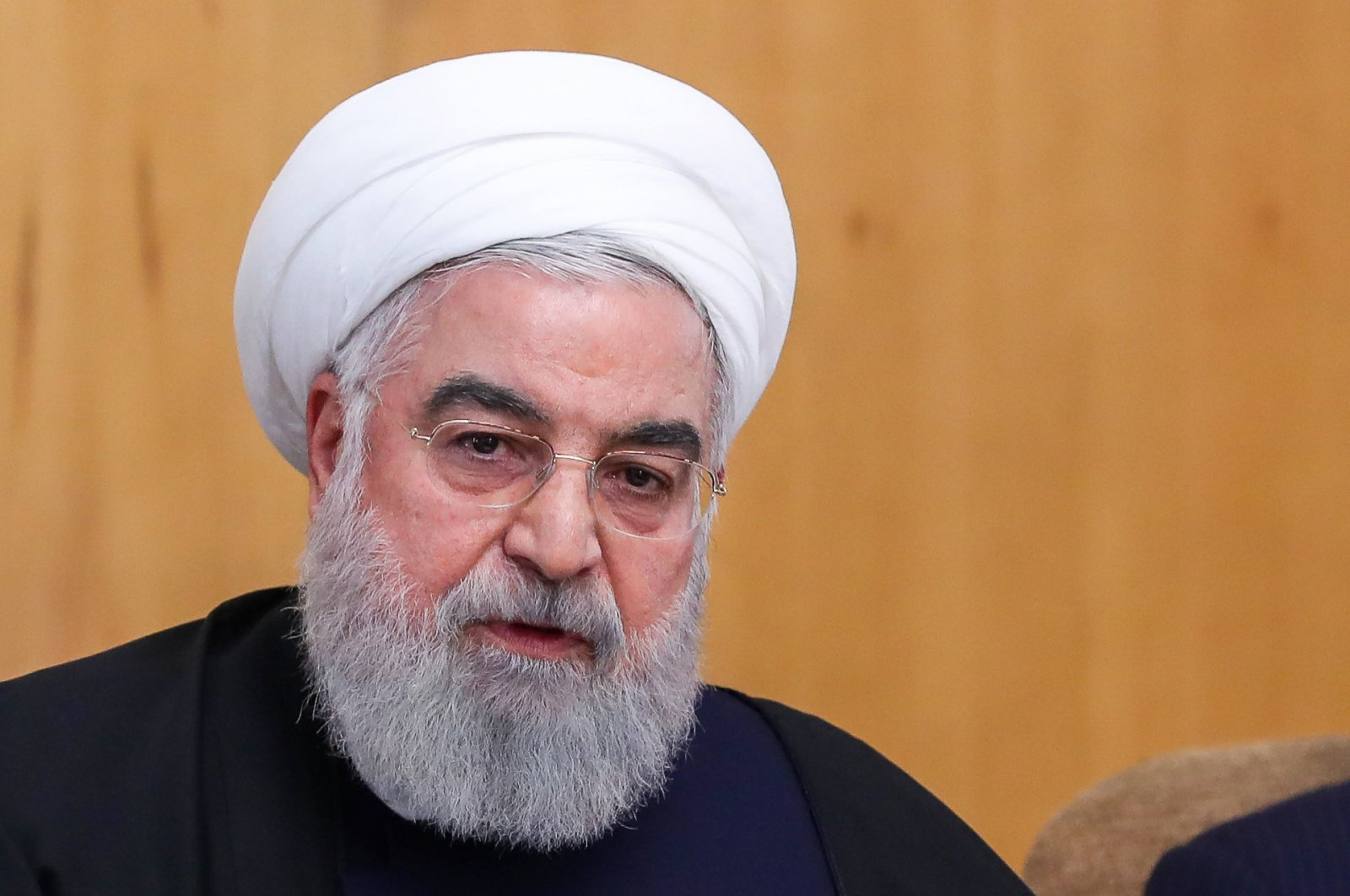 Iranian President Hassan Rouhani speaks during a cabinet meeting in the capital Tehran, Jan. 8, 2020. (AFP Photo/ HO / Iranian Presidency)