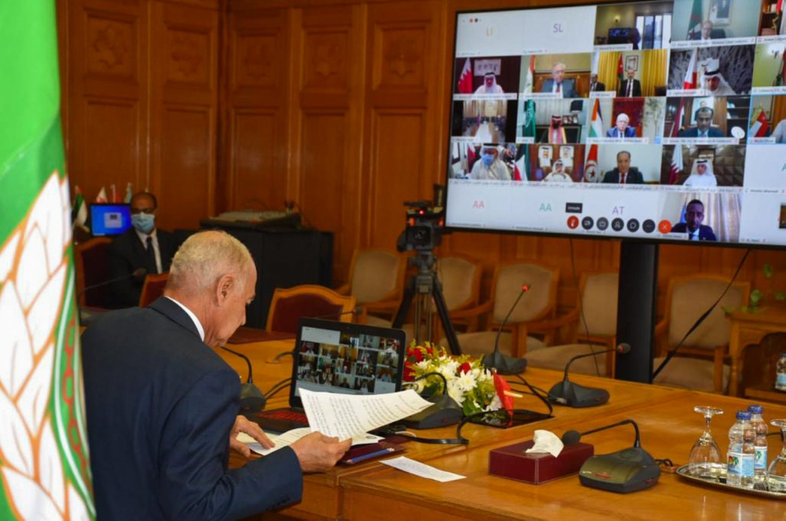 Arab League Secretary-General Ahmed Aboul Gheit chairs a virtual foreign minister meeting on Libya at Egypt's request in the Egyptian capital Cairo, June 23, 2020. (AFP Photo)