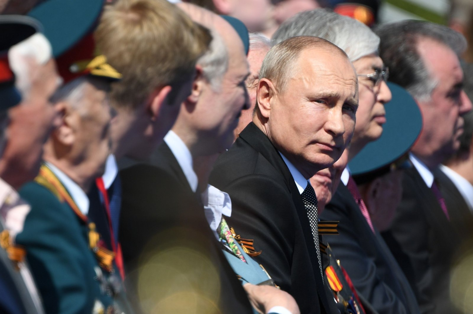 Russian President Vladimir Putin prior to a military parade, which marks the 75th anniversary of the Soviet victory over Nazi Germany in World War II, at Red Square in Moscow, June 24, 2020. (AFP Photo)