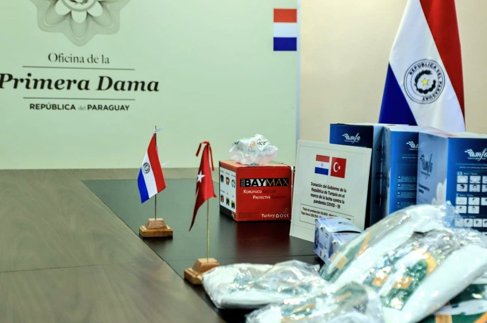Turkey sent a medical aid package worth $1.4 million (TL 9.6 million) to Paraguay, June 23, 2020. (AA)