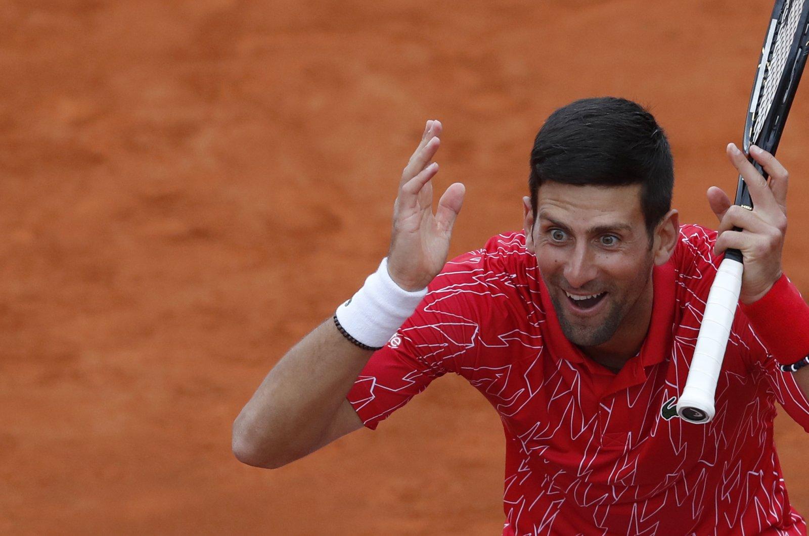 Novak Djokovic reacts during a tennis doubles match at a charity tournament Adria Tour, Belgrade, Serbia, June 12, 2020. (AP Photo)