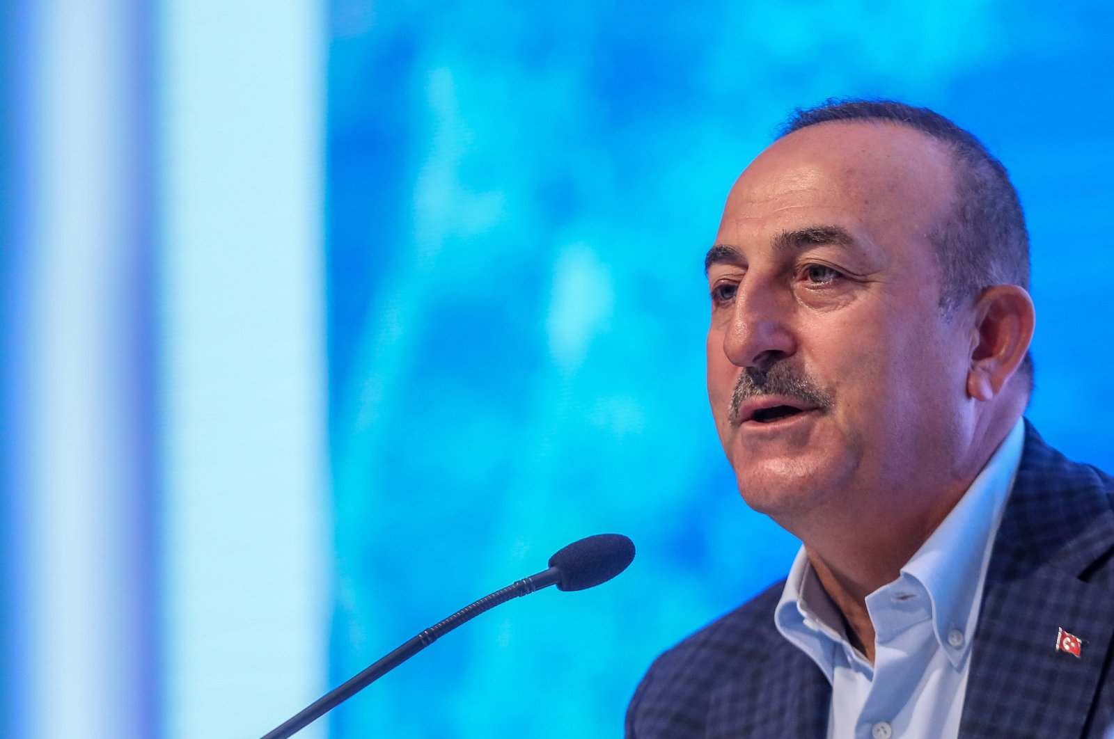 Foreign Minister Mevlüt Çavuşoğlu speaks at a meeting with ambassadors of over 50 countries in Turkey's southern resort city of Antalya, June 20, 2020 (DHA Photo)
