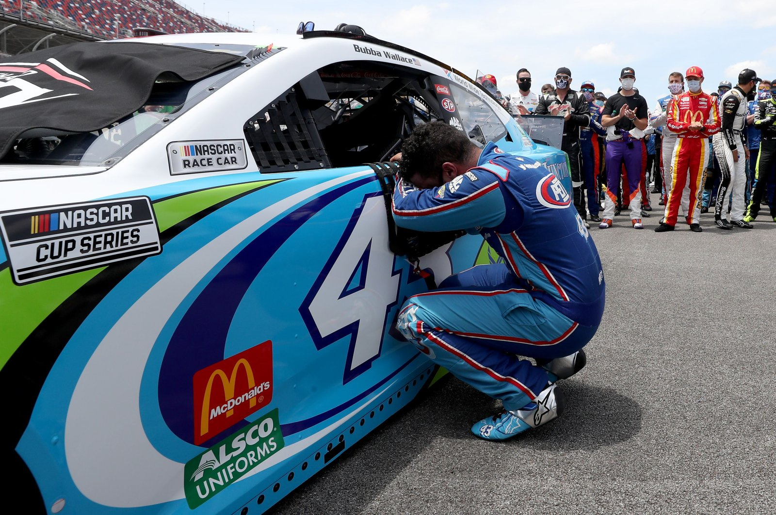 Driver Bubba Wallace overcome with emotion prior to the start of the NASCAR Cup Series auto race in Talladega Alabama, U.S., June 22, 2020. (AFP Photo)
