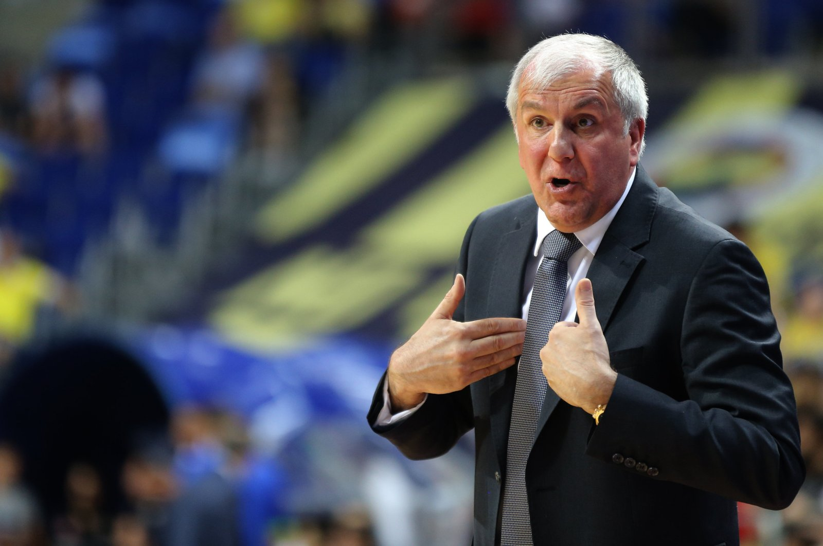 Zeljko Obradovic reacts during a Turkish Basketball League match in Istanbul, Turkey, June 5, 2019. (AA Photo)